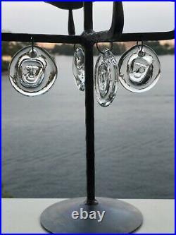ERIK HOGLUND KOSTA BODA Candle Holder Iron With Glass Face Medallions, 1950 H12