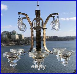ERIK HOGLUND KOSTA BODA Chandelier In Brass With Glass Star Medallions SWEDEN