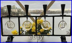 ERIK HOGLUND KOSTA BODA Sweden Candle Holder In Cast Iron & Glass Star Medallion