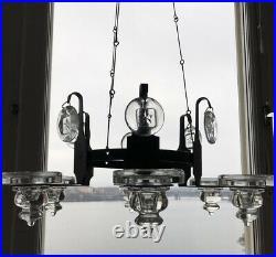 ERIK HOGLUND KOSTA BODA Sweden Chandelier Cast Iron And Glass Mediollons