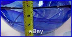 EXTRA LARGE Kosta Boda CENTERPIECE Blue Contrast Bowl NEW 7050541 Anna Ehrner