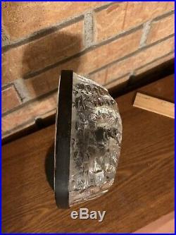 Eric Hoglund Kosta Boda Sweden Glass Face Sculpture In Stand