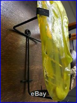 Eric Hoglund Kosta Boda Yellow Glass Face mask on black metal holder Sweden