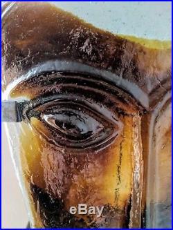 Erik Hoglund 1960's Face Sculpture with Stand - mid-century modern glass Kosta