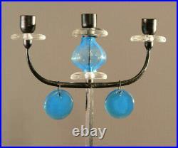 Erik Hoglund. Cast Iron and Blue Glass Candelabrum, Candle Holder. Sweden 60s