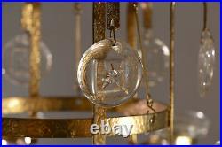 Erik Hoglund Chandelier. Brass and Clear Glass Star Pendants BODA Sweden