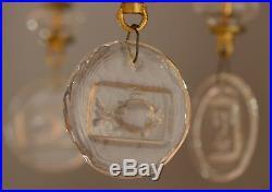 Erik Hoglund Chandelier Gilt Iron Glass Pendants Faces and Fish BODA Sweden 60's