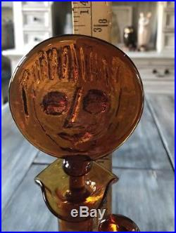 Erik Hoglund Figural Amber Lady Decanter Bottle Face Stopper Open Arms 1950's