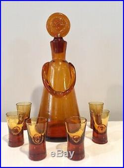 Erik Hoglund Glasmadamer People Decanter w 6 Rare Matching Glasses Kosta Boda