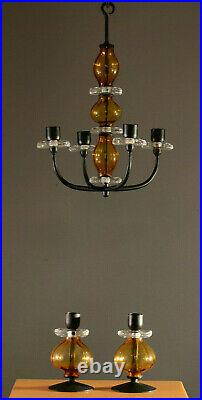 Erik Hoglund Iron and Amber Glass Candle Holders BODA Sweden 60s