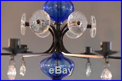 Erik Hoglund Iron and Blue Glass Chandelier Faces Pendants BODA Sweden 1960's