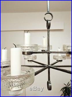 Erik Hoglund Iron and Glass 9-arm Chandelier Sweden mid-century modern
