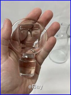 Erik Hoglund Kosta Boda Afors Sweden Clear Glass Figural People Decanter SIGNED