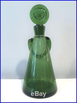 Erik Hoglund Large Green Glasmadamer People Decanter Kosta Boda Signed H288