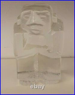Erik Hoglund Massive Glass Sculpture Kosta Boda Sweden Signed