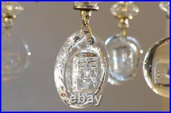 Erik Hoglund Rare Gilt Iron Glass Chandelier Faces Fish BODA Sweden 60s
