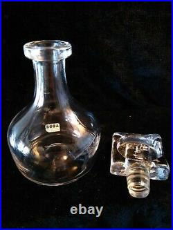 Erik Hoglund Sweden Kosta Boda Glass Liquor Decanter W Face Stopper 9 3/4 Tall