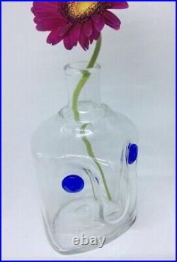 Erik Hoglund Swedish designer Kosta Boda, The Face glass decanter / bottle Signed