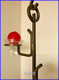 Erik Hoglund chandelier for Boda Sweden Scandinavian candelabra glass and iron