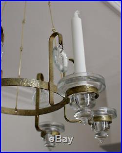 Erik Höglund chandelier for Boda of Sweden 60s glass gilded wrought iron