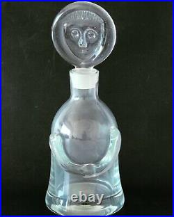 Erik Höglund kosta Boda Glass Bottle People Face Decanter Stopper