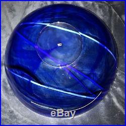 Extraordinary Kosta Boda Large Glass Cobalt Blue Bowl Sweden Signed 14 7.5Lbs