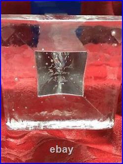 FLAWLESS Stunning KOSTA BODA Sweden Crystal ICE PILLAR TOWER CANDLE STICK HOLDER