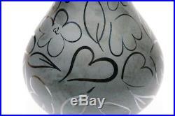 Gorgeous Black Satin KOSTA BODA Art Glass Whimsical Heart Bottle Vase with Label