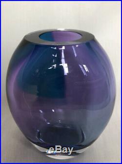 Heavy KJELL ENGMAN Signed Blue Purple Vase KOSTA BODA SWEDEN