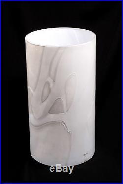 Huge Signed Kosta Boda Anna Ehrner Swedish Art Glass Vase White Modern Design