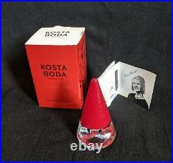 KOSTA BODA Anna Ehrner NIB Art Glass Noel Santa Gnome Signed AE/BC Cone Tree
