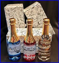 KOSTA BODA Art Glass CHAMPAGNE BOTTLES CELEBRATE Kjell Engman / NIB 3-pcs Set