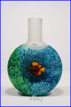 KOSTA BODA Art Glass Reef Collection Fish Out Of Water Blue Bottle Vase with Label