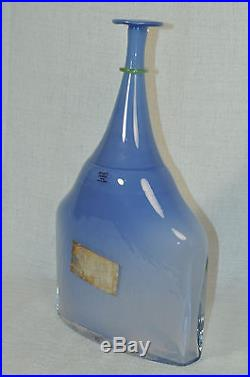 KOSTA BODA Artists Choice Satellite Blue Opaque Bottle by Bertil Vallien New
