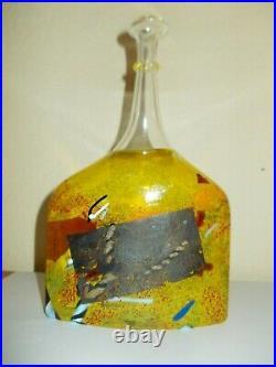 KOSTA BODA Bertil Vallien SATELLITE Vase Glas Glass Bottle Gelb mit Label