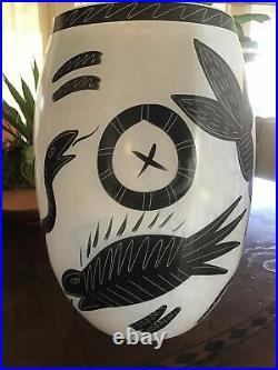 KOSTA BODA CARAMBA 13+ Black White Hand Paint Vase Ulrica Hydman RARE EUC