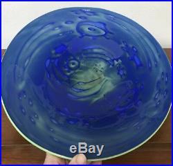 KOSTA BODA Centerpiece Bowl Platter BlueGreen REEF Art Glass 14 Martti Rytkonen