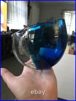 KOSTA BODA Clear Goran Warff Controlled Bubbles VASE BOWL Signed Damaged