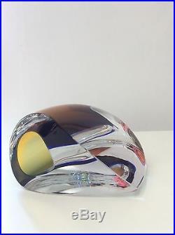 KOSTA BODA GORAN WARFF'S MIRAGE COLLECTION GLASS VASE (blue & brown) LARGE