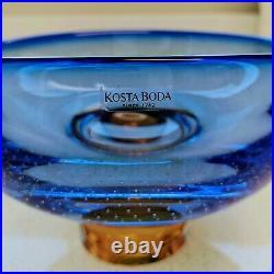 KOSTA BODA Goran Warff Zoom Stunning Art Glass bowl Cobalt Blue and Amber