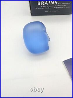 KOSTA BODA KAROLiNA BRAiNS VALLiEN ART GLASS MAN FACE HEAD SCULPTURE PAPERWEiGHT