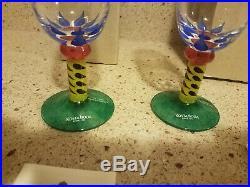 KOSTA BODA Ken Done Palm Trees Champagne Glasses Set Of 2