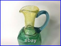 KOSTA BODA Kjell Engman Pitcher Signed Art Glass 12 Green Blue Yellow EUC