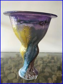 KOSTA BODA Kjell Engman signed Art Glass CAN CAN Flower Vase multi colored