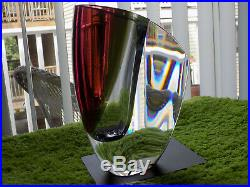 KOSTA BODA MIRAGE 8-1/4 Vase Goran Warff New in Box Art Glass Red Maroon Gray