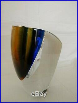 KOSTA BODA MIRAGE 8-1/4 Vase Goran Warff Scandanavian Art Glass Amber BLUE