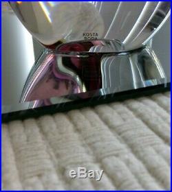 KOSTA BODA MIRAGE LARGE Vase Goran Warff New in Box Art Glass Red Maroon Gray