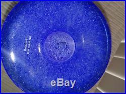 KOSTA BODA OPEN MINDS Ulrica Hydman Vallien LARGE FOOTED BOWL Blue Compote Mint