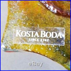 KOSTA BODA PAPERWEIGHT Signed Kjell ENGMAN Face Art Glass Original Tag MCM