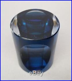 KOSTA BODA Paperweight Mona Morales Schildt Vintage Ventana Blue Art Glass